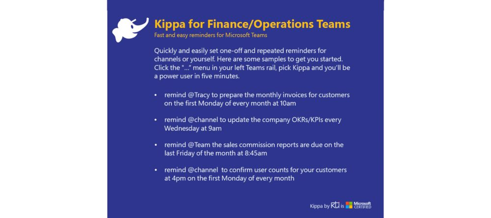 Card for Finance/Operations Teams
